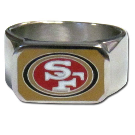 San Francisco 49ers Steel Ring - This unique San Francisco 49ers Steel Ring is made of 316L stainless steel and features a fully cast and enameled San Francisco 49ers team logo. In addition to the attractive look of this San Francisco 49ers Steel Ring it also includes a functional bottle opener feature. Officially licensed NFL product Licensee: Siskiyou Buckle .com