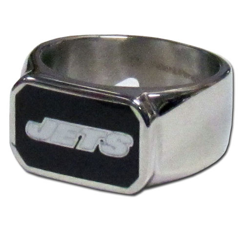 New York Jets Steel Ring - This unique ring is made of 316L stainless steel and features a fully cast and enameled New York Jets logo. In addition to the attractive look of this ring it also includes a functional bottle opener feature.