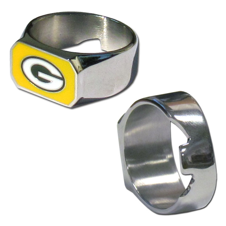 Green Bay Packers Steel Ring - This unique ring is made of 316L stainless steel and features a fully cast and enameled Green Bay Packers logo. In addition to the attractive look of this ring it also includes a functional bottle opener feature.