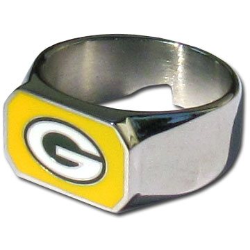 Green Bay Packers Steel Ring  - This unique Green Bay Packers Steel Ring is made of 316L stainless steel and features a fully cast and enameled Green Bay Packers team logo. In addition to the attractive look of this Green Bay Packers Steel Ring it also includes a functional bottle opener feature. Officially licensed NFL product Licensee: Siskiyou Buckle .com