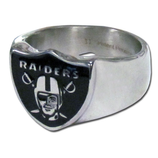Oakland Raiders Steel Ring  - This unique Oakland Raiders Steel Ring is made of 316L stainless steel and features a fully cast and enameled Oakland Raiders logo. In addition to the attractive look of this Oakland Raiders Steel Ring it also includes a functional bottle opener feature. Officially licensed NFL product Licensee: Siskiyou Buckle Thank you for visiting CrazedOutSports.com