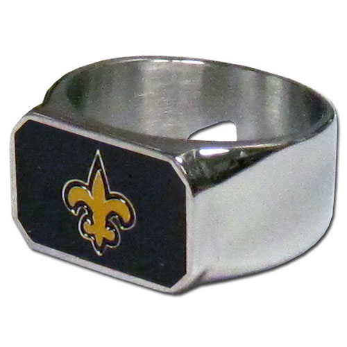 New Orleans Saints Steel Ring - This unique ring is made of 316L stainless steel and features a fully cast and enameled New Orleans Saints logo. In addition to the attractive look of this ring it also includes a functional bottle opener feature.