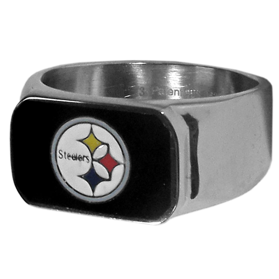 Pittsburgh Steelers Steel Ring - This unique Pittsburgh Steelers Steel Ring is made of 316L stainless steel and features a fully cast and enameled Pittsburgh Steelers team logo. In addition to the attractive look of this Pittsburgh Steelers Steel Ring it also includes a functional bottle opener feature. Officially licensed NFL product Licensee: Siskiyou Buckle .com