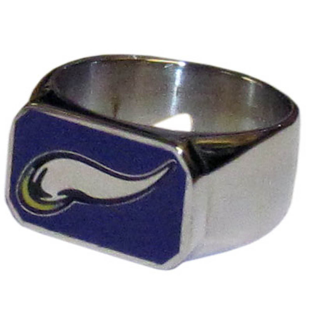 Minnesota Vikings Steel Ring - This unique ring is made of 316L stainless steel and features a fully cast and enameled Minnesota Vikings logo. In addition to the attractive look of this ring it also includes a functional bottle opener feature.