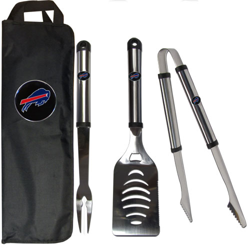 Buffalo Bills BBQ Set w/Bag - Our Buffalo Bills stainless steel 3 pc BBQ tool set includes a large spatula with built in bottle opener, heavy duty tongs, and large fork. All the tools feature a team logo on the handle. The set comes with a durable canvas bag that has a chrome accented team logo.  Officially licensed NFL product Licensee: Siskiyou Buckle Thank you for visiting CrazedOutSports.com
