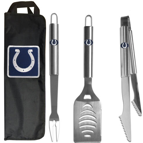 Indianapolis Colts BBQ Set w/Bag - Our Indianapolis Colts stainless steel 3 pc BBQ tool set includes a large spatula with built in bottle opener, heavy duty tongs, and large fork. All the tools feature a team logo on the handle. The set comes with a durable canvas bag that has a chrome accented team logo.  Officially licensed NFL product Licensee: Siskiyou Buckle Thank you for visiting CrazedOutSports.com