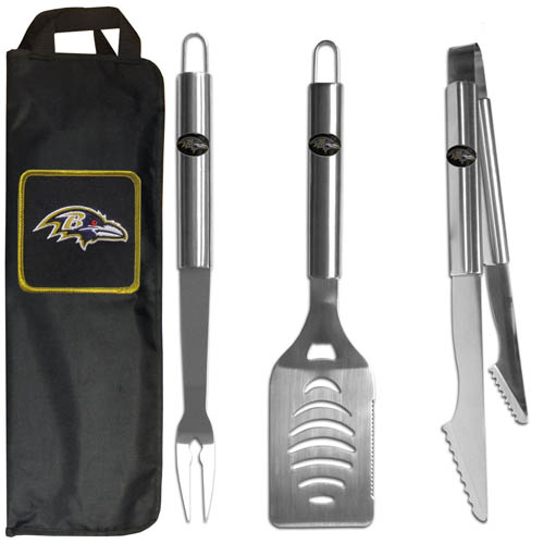 Baltimore Ravens BBQ Set w/Bag - Our Baltimore Ravens stainless steel 3 pc BBQ tool set includes a large spatula with built in bottle opener, heavy duty tongs, and large fork. All the tools feature a team logo on the handle. The set comes with a durable canvas bag that has a chrome accented team logo.  Officially licensed NFL product Licensee: Siskiyou Buckle Thank you for visiting CrazedOutSports.com