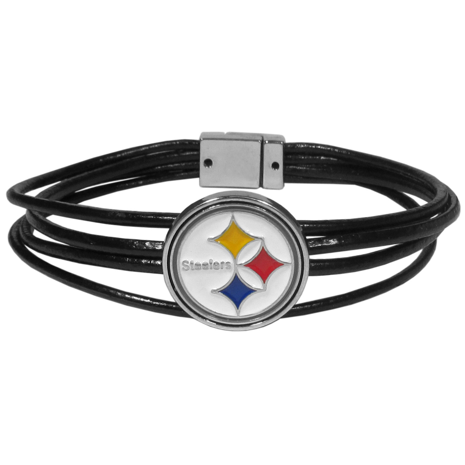 Pittsburgh Steelers Magnetic Cord Bracelet - Our magnetic clasp, multi-cord bracelet is 8 inches long and features 4 black cords connected to a unique magnet clasp that has 4 prongs that help lock the bracelet into place. The fun and fashionable bracelet features a fully cast Pittsburgh Steelers metal charm with expertly enameled team colors.