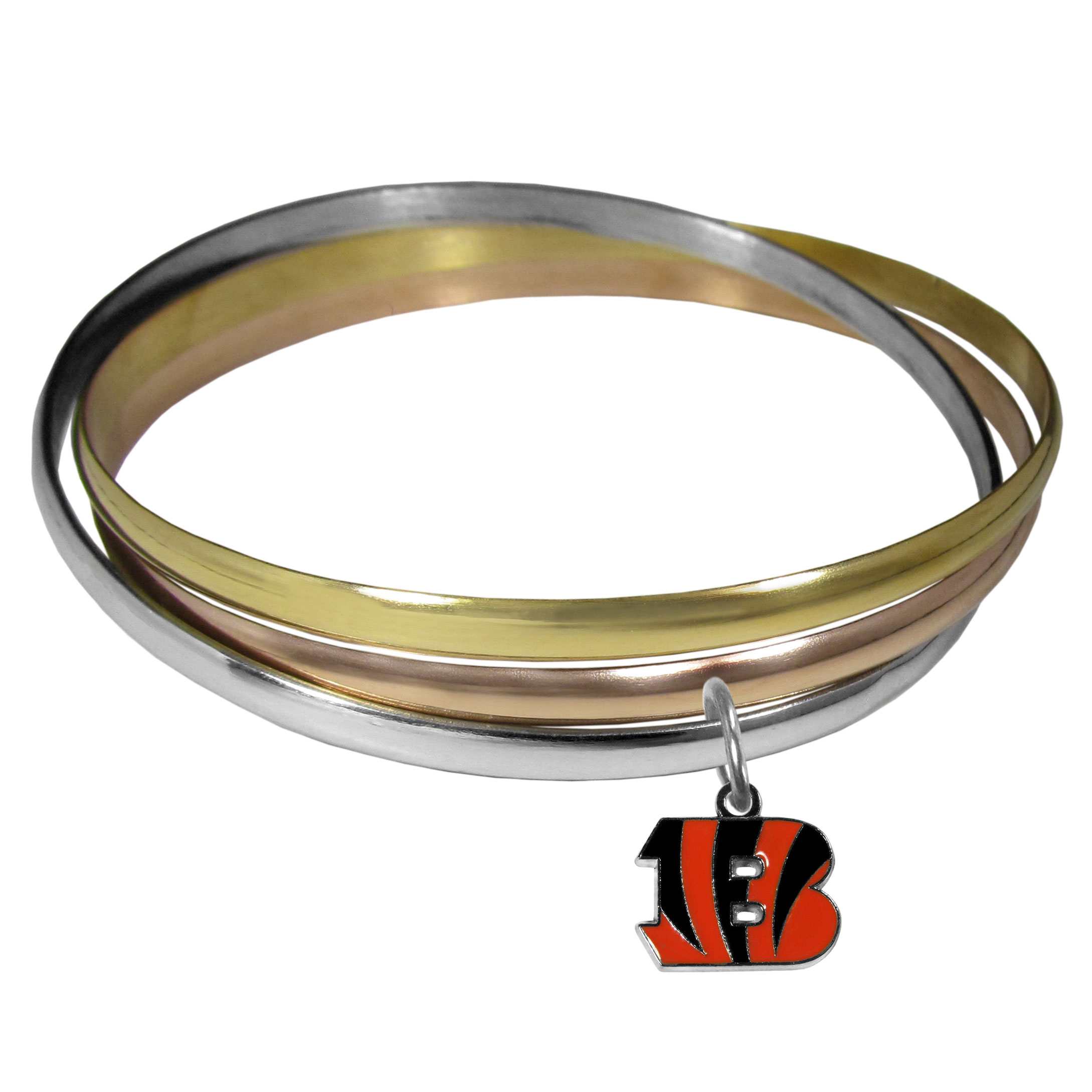 Cincinnati Bengals Tri-color Bangle Bracelet - These beautiful bangles come in a interlocking style and feature a fully cast Cincinnati Bengals charm with enameled team colors. The bracelet has a silver toned bangle, gold tone bangle and brass toned bangle.