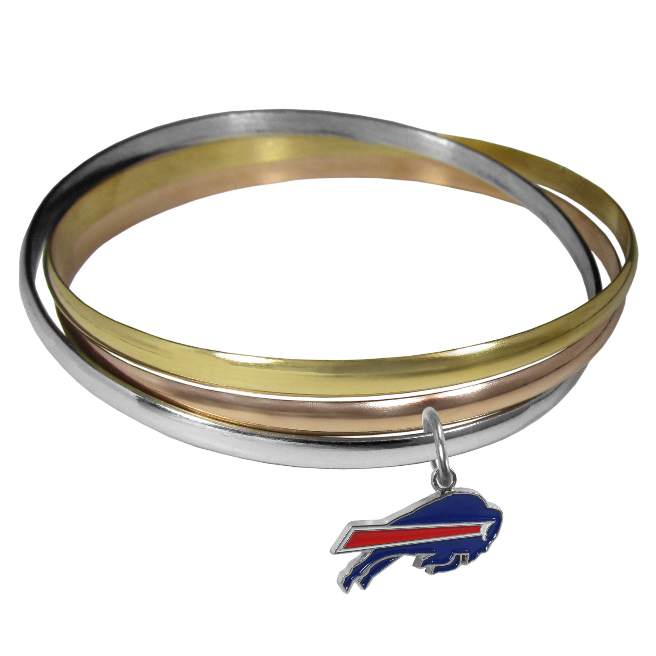 Buffalo Bills Tri-color Bangle Bracelet - These beautiful bangles come in a interlocking style and feature a fully cast Buffalo Bills charm with enameled team colors. The bracelet has a silver toned bangle, gold tone bangle and brass toned bangle.
