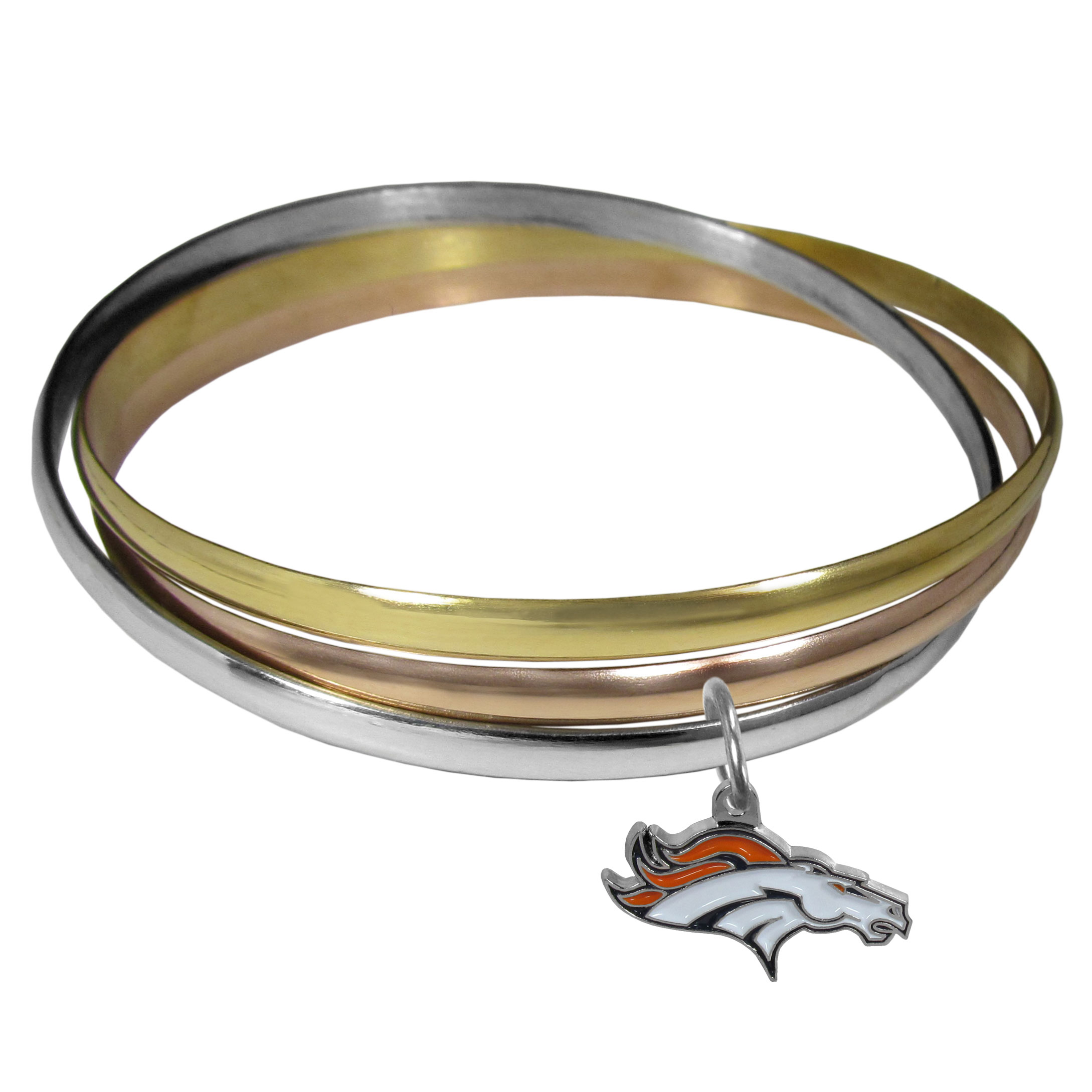 Denver Broncos Tri-color Bangle Bracelet - These beautiful bangles come in a interlocking style and feature a fully cast Denver Broncos charm with enameled team colors. The bracelet has a silver toned bangle, gold tone bangle and brass toned bangle.