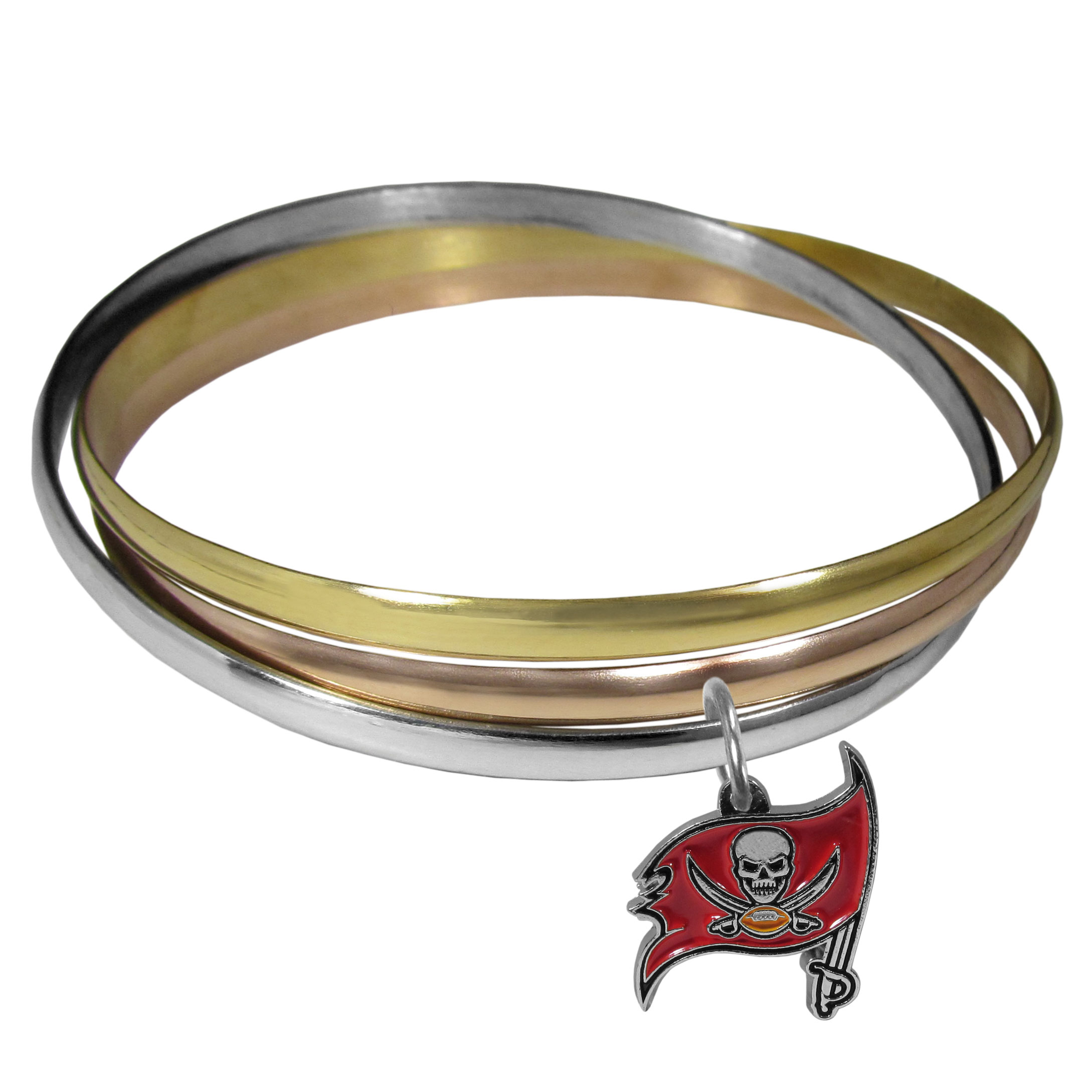 Tampa Bay Buccaneers Tri-color Bangle Bracelet - These beautiful bangles come in a interlocking style and feature a fully cast Tampa Bay Buccaneers charm with enameled team colors. The bracelet has a silver toned bangle, gold tone bangle and brass toned bangle.