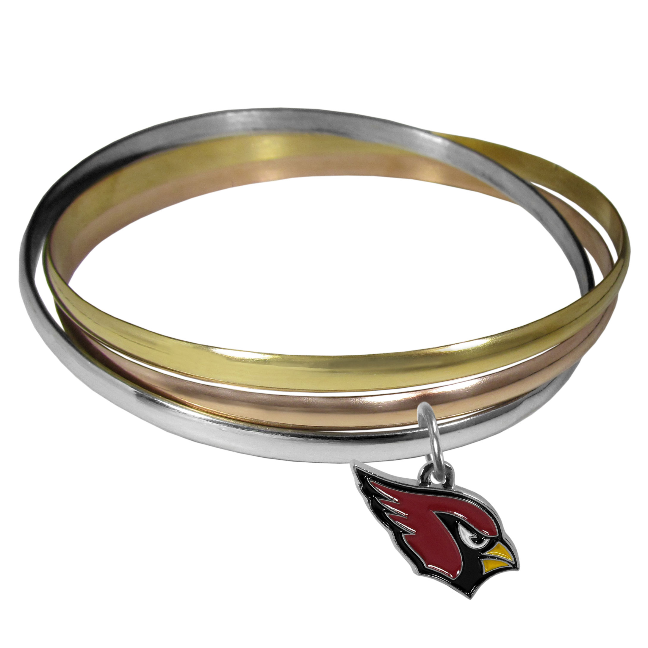 Arizona Cardinals Tri-color Bangle Bracelet - These beautiful bangles come in a interlocking style and feature a fully cast Arizona Cardinals charm with enameled team colors. The bracelet has a silver toned bangle, gold tone bangle and brass toned bangle.