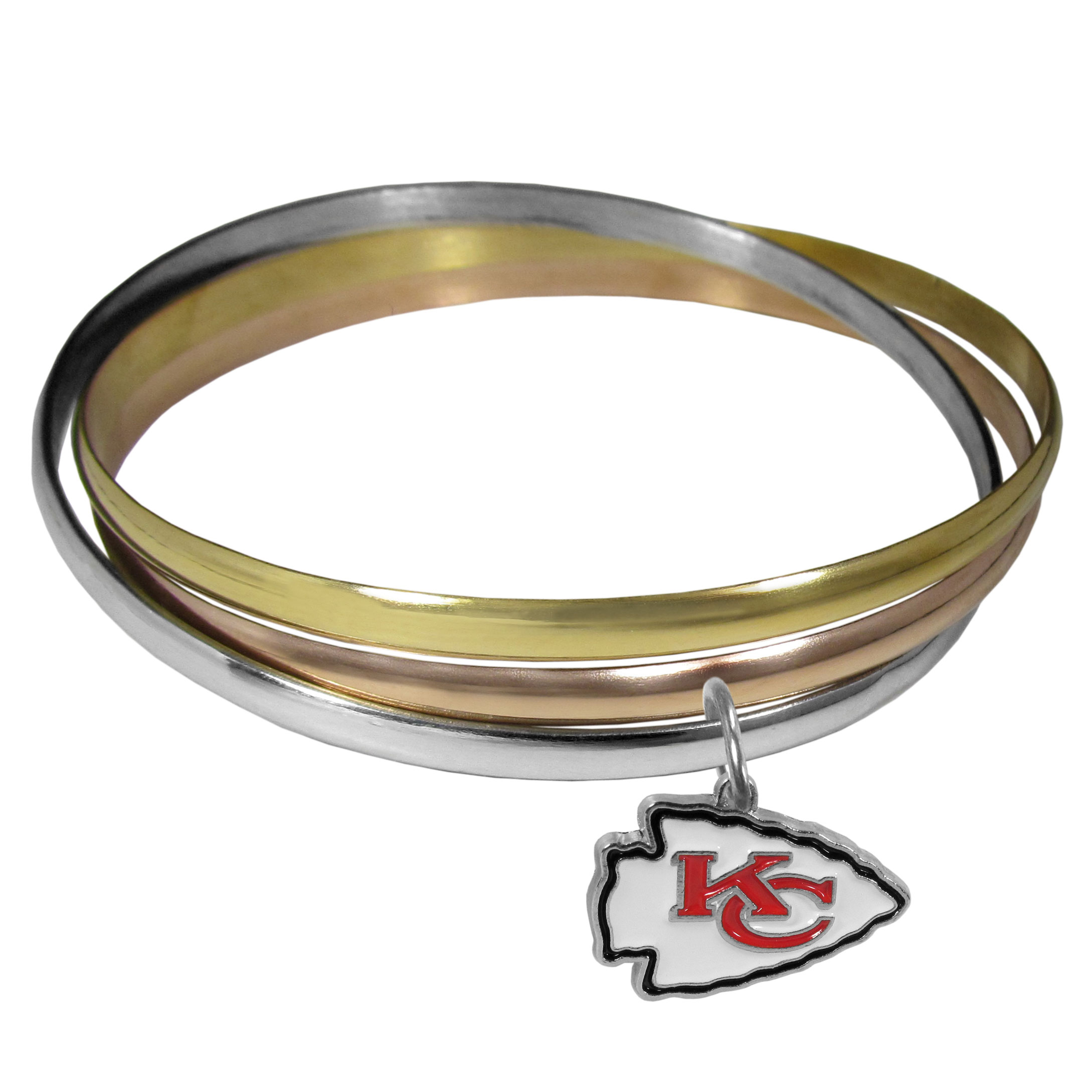 Kansas City Chiefs Tri-color Bangle Bracelet - These beautiful bangles come in a interlocking style and feature a fully cast Kansas City Chiefs charm with enameled team colors. The bracelet has a silver toned bangle, gold tone bangle and brass toned bangle.