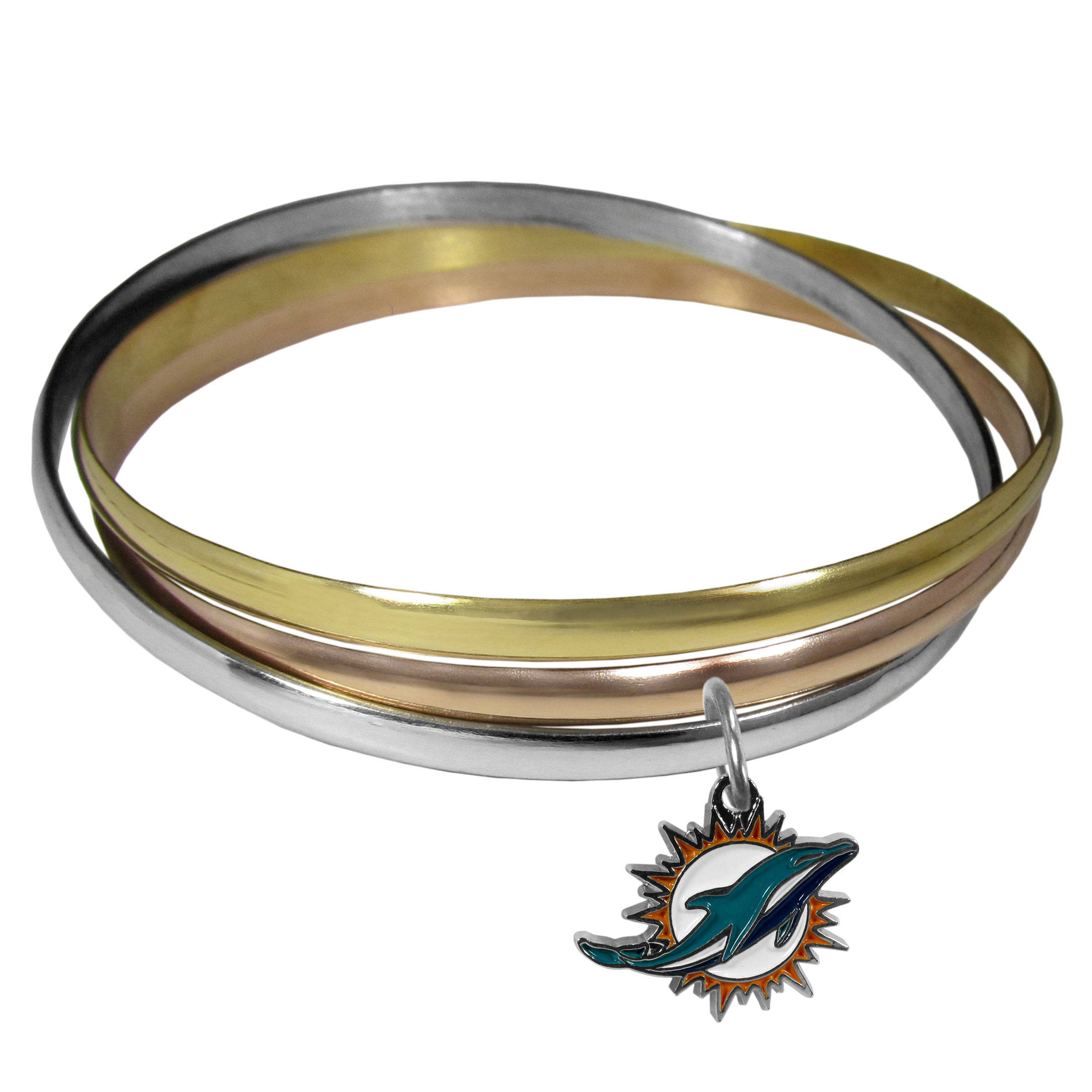 Miami Dolphins Tri-color Bangle Bracelet - These beautiful bangles come in a interlocking style and feature a fully cast Miami Dolphins charm with enameled team colors. The bracelet has a silver toned bangle, gold tone bangle and brass toned bangle.