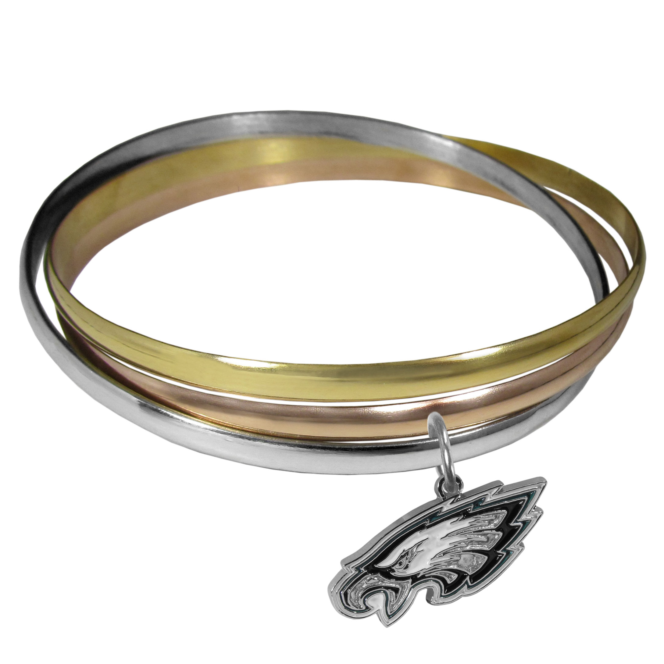 Philadelphia Eagles Tri-color Bangle Bracelet - These beautiful bangles come in a interlocking style and feature a fully cast Philadelphia Eagles charm with enameled team colors. The bracelet has a silver toned bangle, gold tone bangle and brass toned bangle.