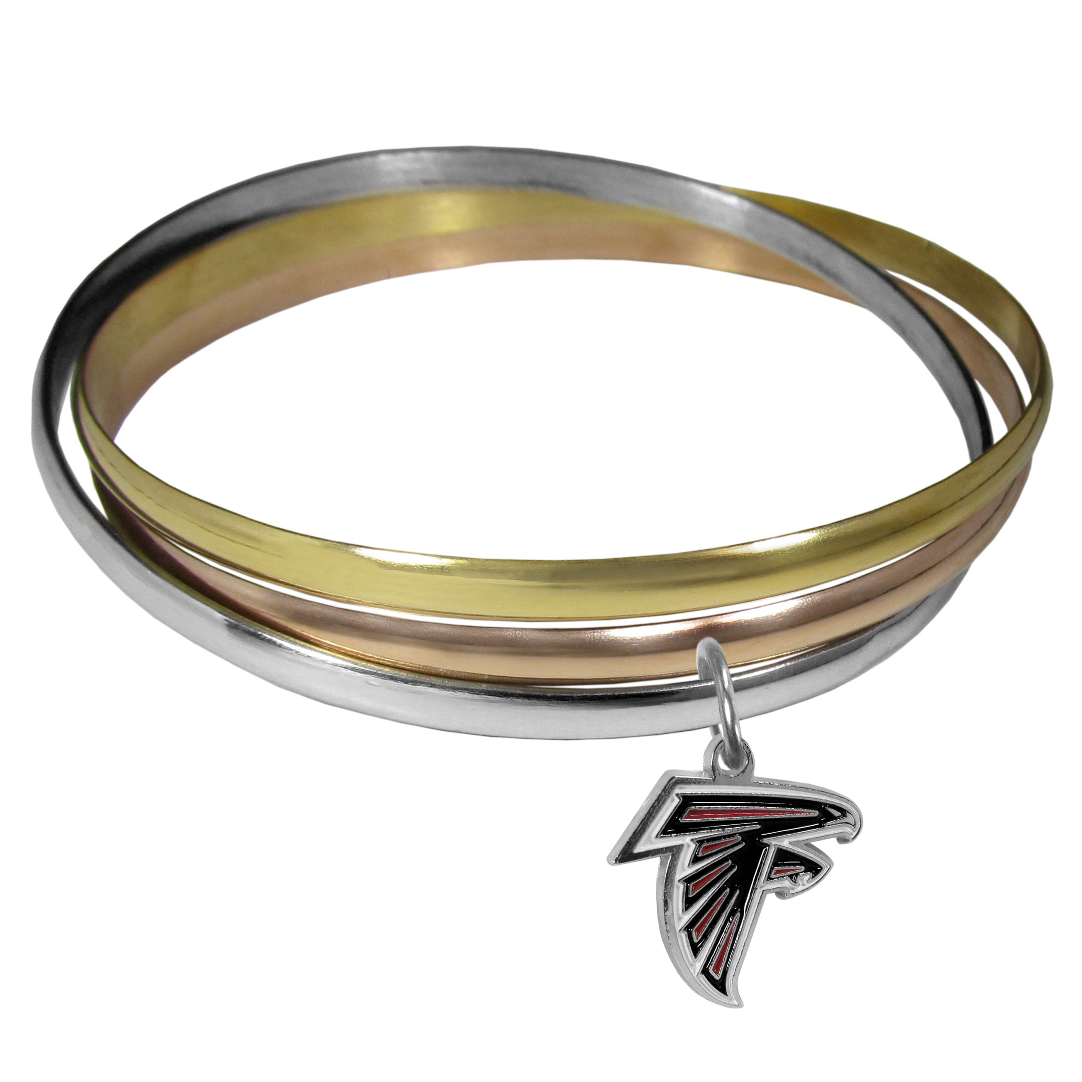 Atlanta Falcons Tri-color Bangle Bracelet - These beautiful bangles come in a interlocking style and feature a fully cast Atlanta Falcons charm with enameled team colors. The bracelet has a silver toned bangle, gold tone bangle and brass toned bangle.