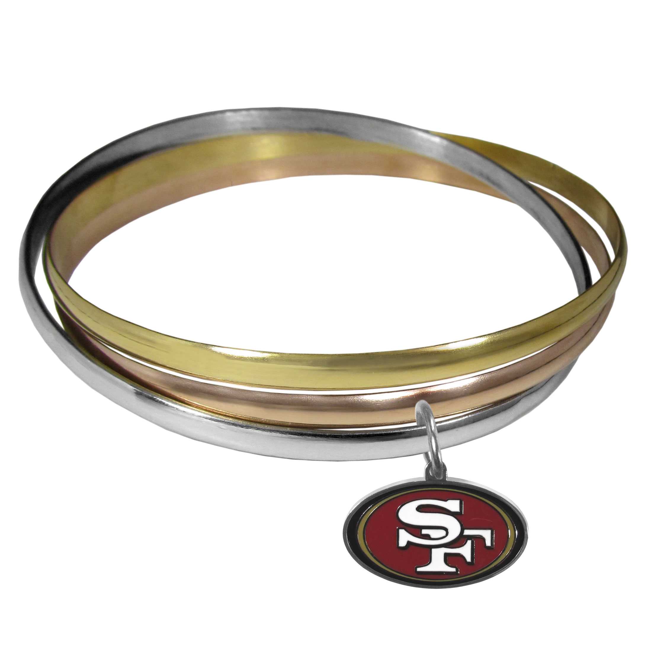San Francisco 49ers Tri-color Bangle Bracelet - These beautiful bangles come in a interlocking style and feature a fully cast San Francisco 49ers charm with enameled team colors. The bracelet has a silver toned bangle, gold tone bangle and brass toned bangle.