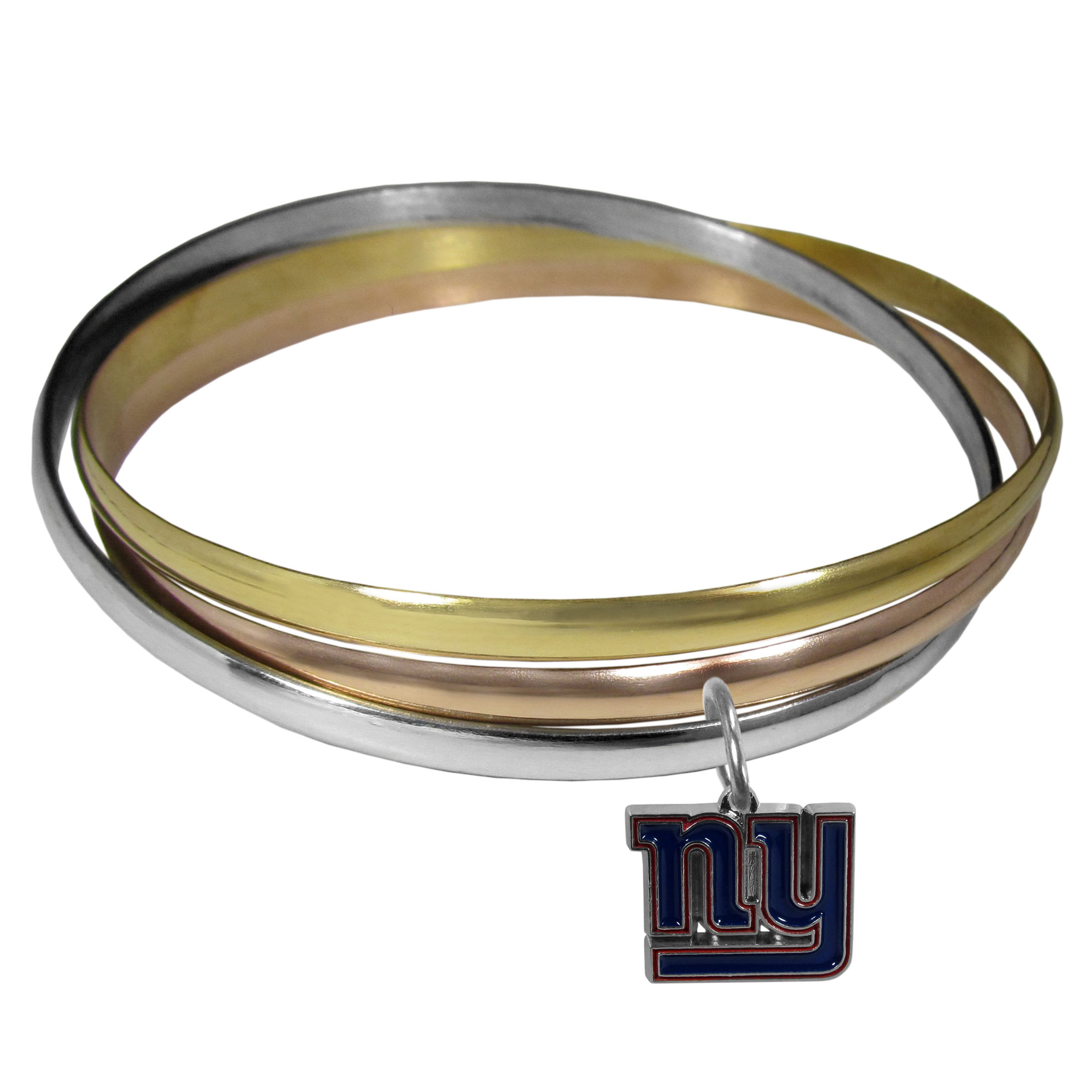New York Giants Tri-color Bangle Bracelet - These beautiful bangles come in a interlocking style and feature a fully cast New York Giants charm with enameled team colors. The bracelet has a silver toned bangle, gold tone bangle and brass toned bangle.