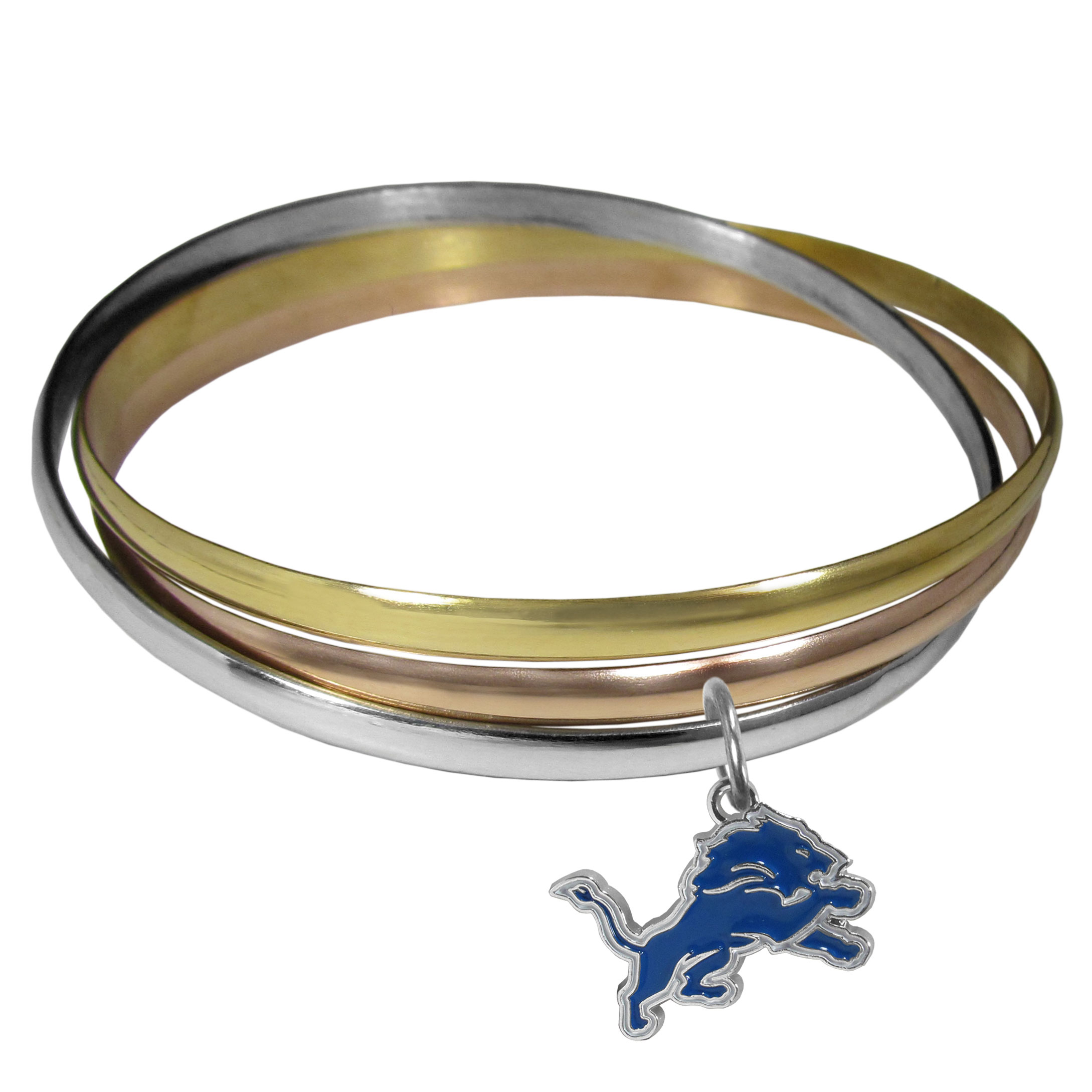 Detroit Lions Tri-color Bangle Bracelet - These beautiful bangles come in a interlocking style and feature a fully cast Detroit Lions charm with enameled team colors. The bracelet has a silver toned bangle, gold tone bangle and brass toned bangle.