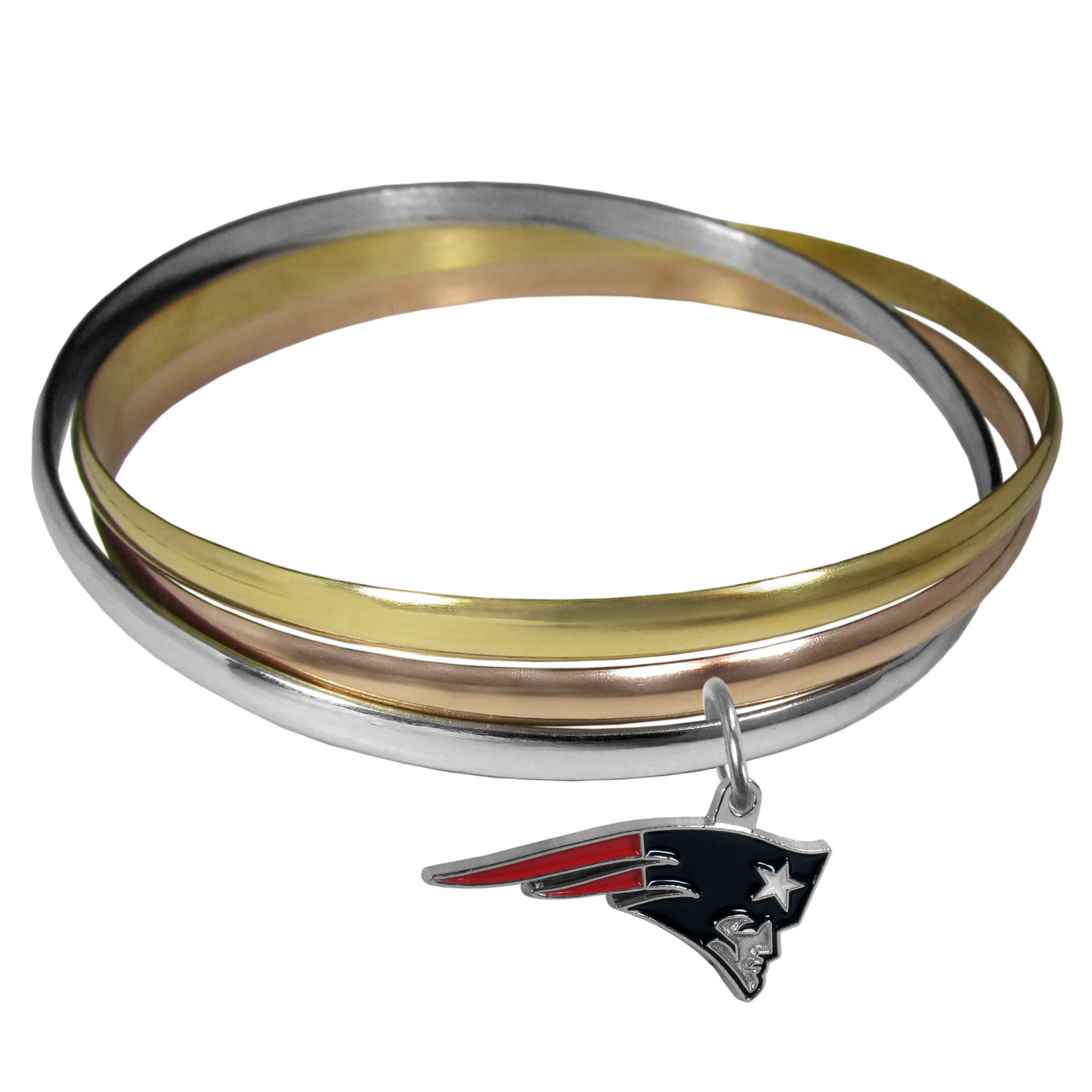 New England Patriots Tri-color Bangle Bracelet - These beautiful bangles come in a interlocking style and feature a fully cast New England Patriots charm with enameled team colors. The bracelet has a silver toned bangle, gold tone bangle and brass toned bangle.