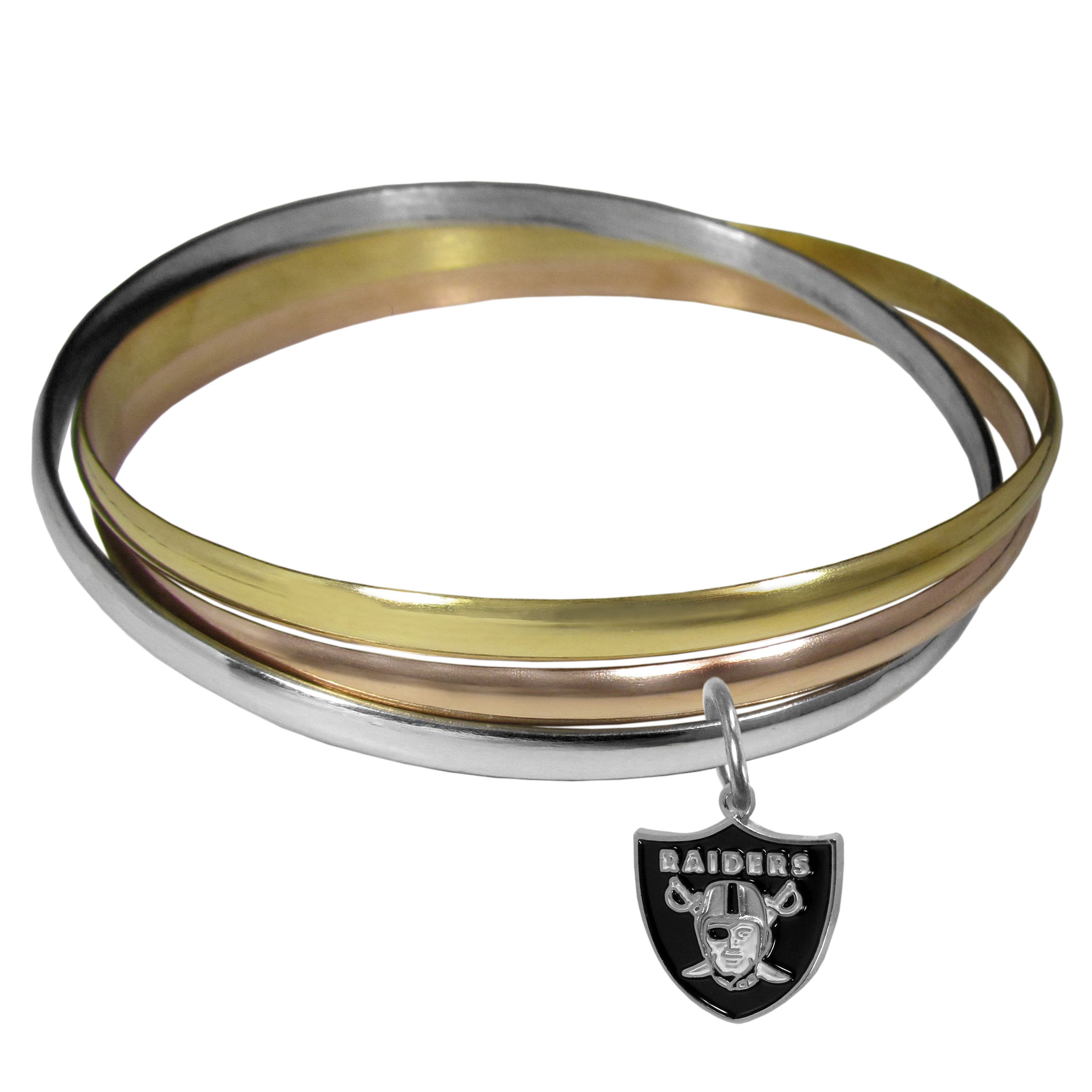 Oakland Raiders Tri-color Bangle Bracelet - These beautiful bangles come in a interlocking style and feature a fully cast Oakland Raiders charm with enameled team colors. The bracelet has a silver toned bangle, gold tone bangle and brass toned bangle.