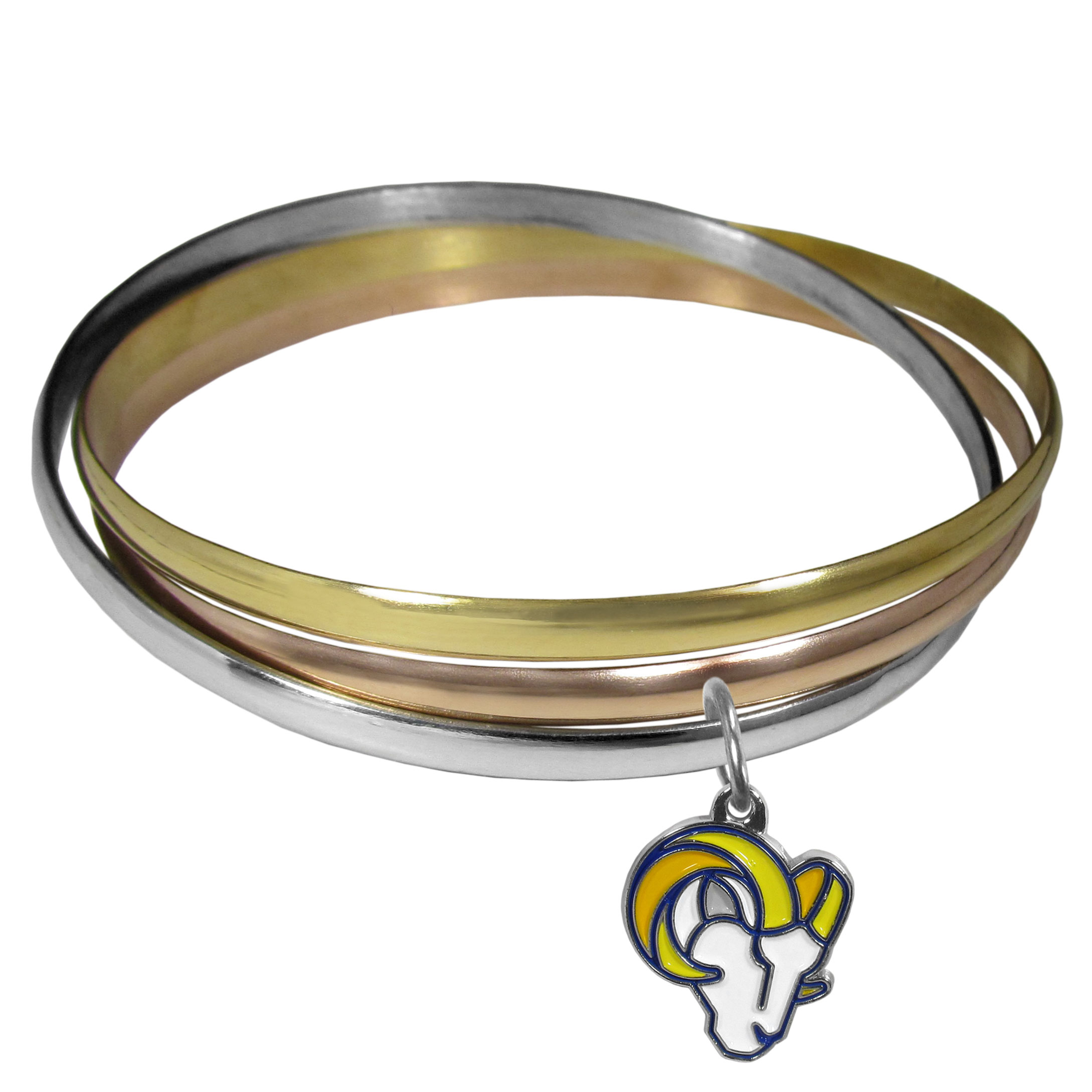 Los Angeles Rams Tri-color Bangle Bracelet - These beautiful bangles come in a interlocking style and feature a fully cast Los Angeles Rams charm with enameled team colors. The bracelet has a silver toned bangle, gold tone bangle and brass toned bangle.