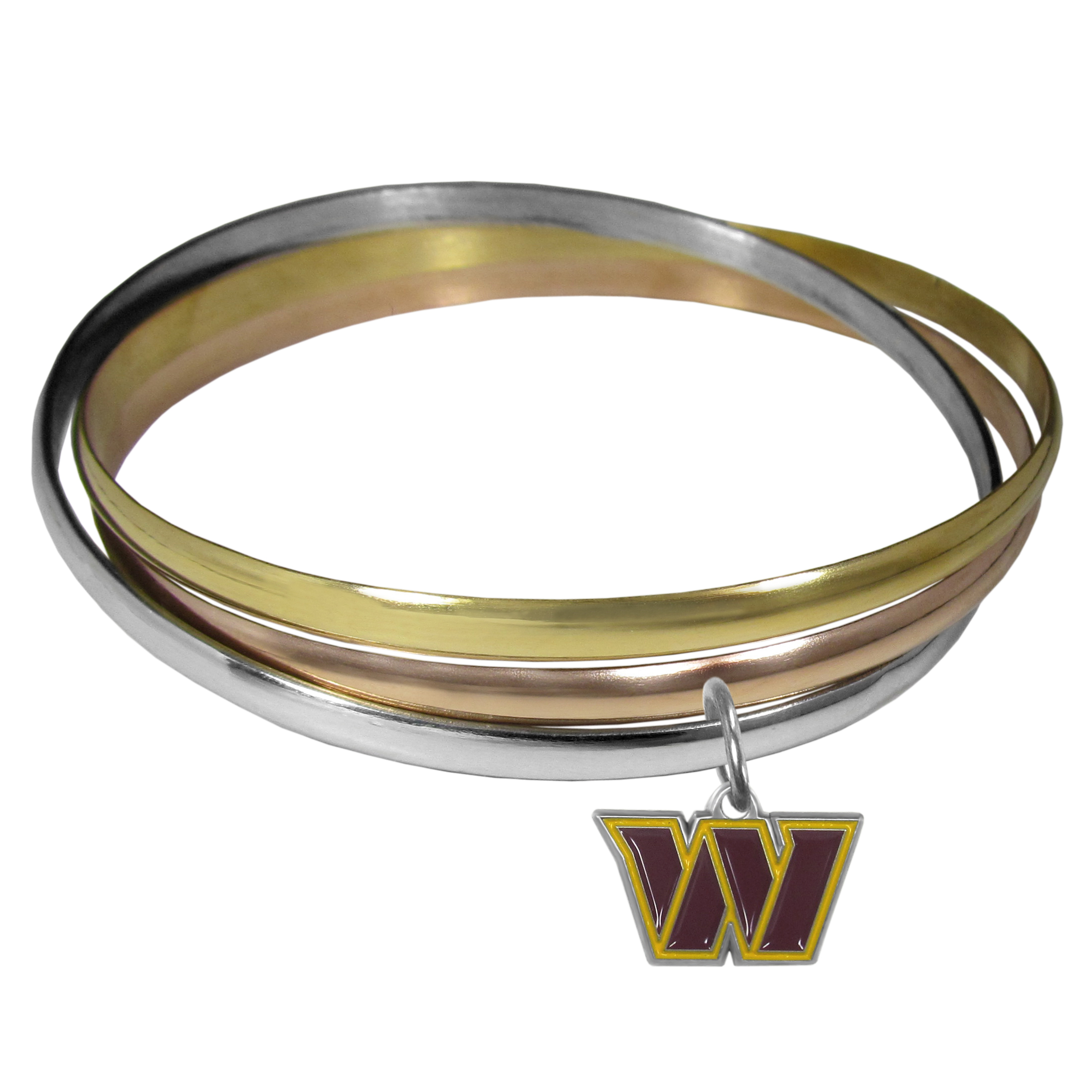 Washington Redskins Tri-color Bangle Bracelet - These beautiful bangles come in a interlocking style and feature a fully cast Washington Redskins charm with enameled team colors. The bracelet has a silver toned bangle, gold tone bangle and brass toned bangle.
