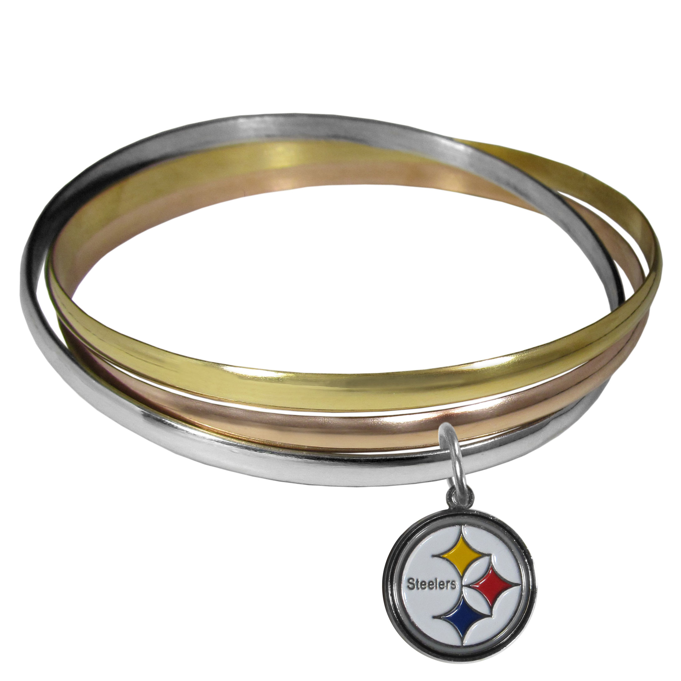 Pittsburgh Steelers Tri-color Bangle Bracelet - These beautiful bangles come in a interlocking style and feature a fully cast Pittsburgh Steelers charm with enameled team colors. The bracelet has a silver toned bangle, gold tone bangle and brass toned bangle.