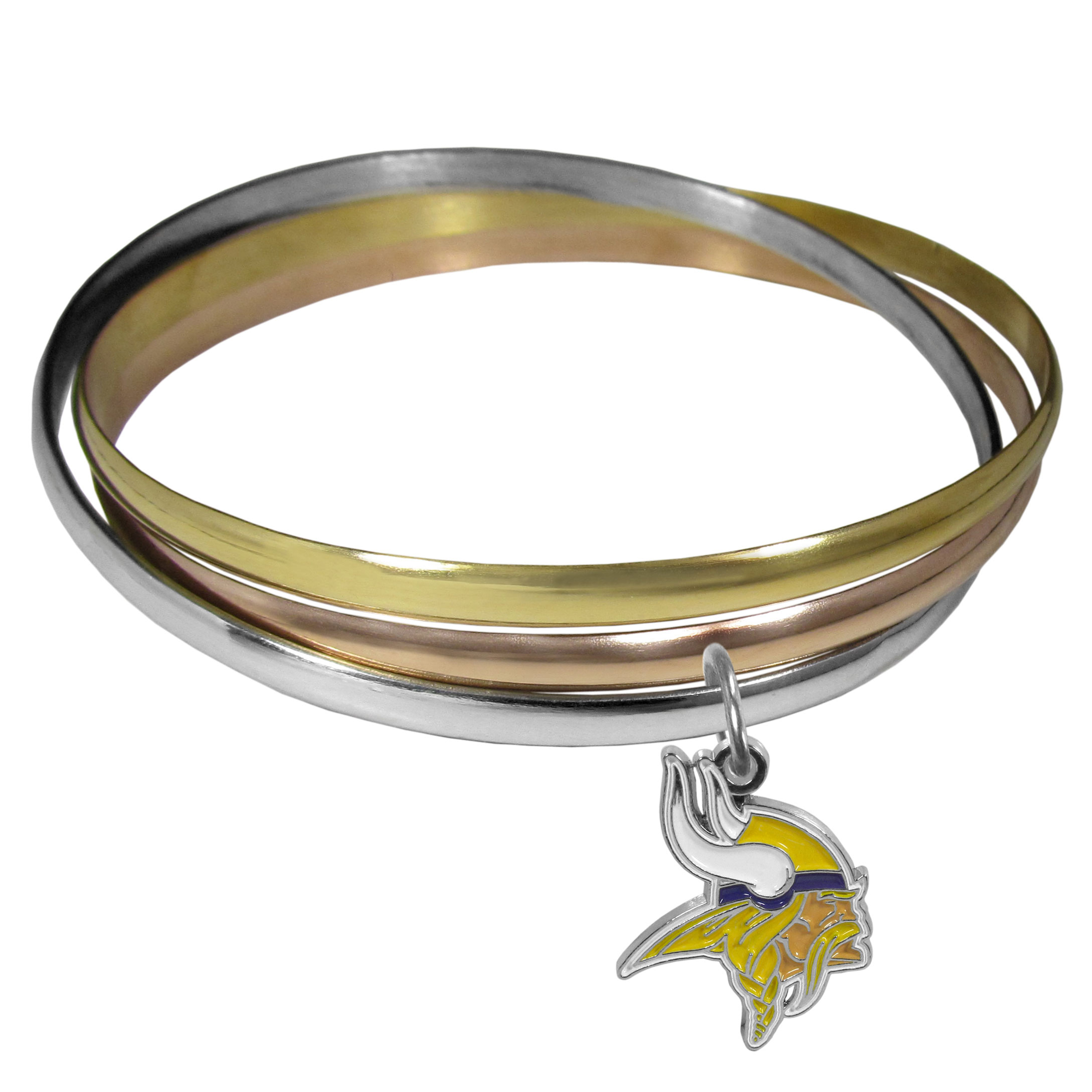 Minnesota Vikings Tri-color Bangle Bracelet - These beautiful bangles come in a interlocking style and feature a fully cast Minnesota Vikings charm with enameled team colors. The bracelet has a silver toned bangle, gold tone bangle and brass toned bangle.