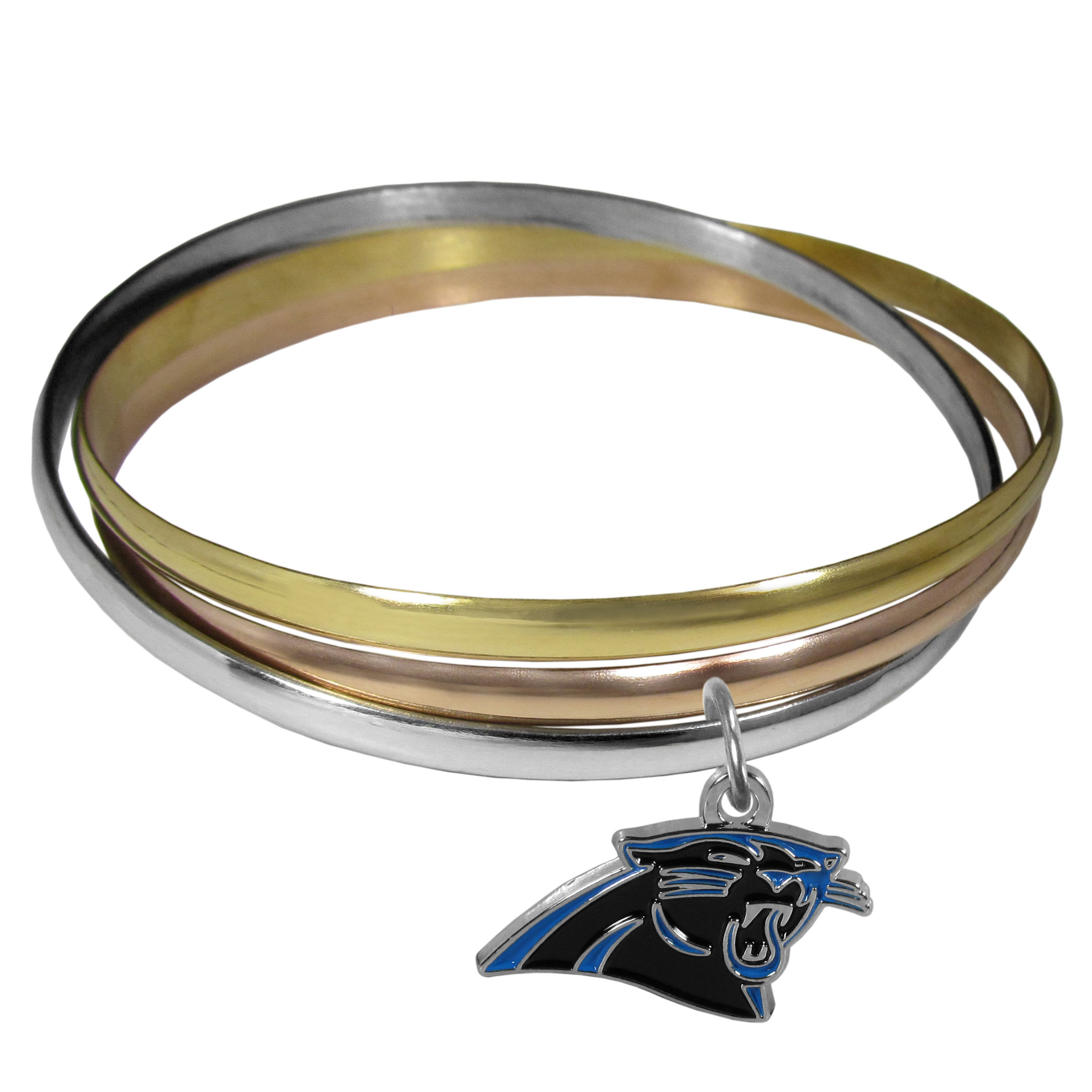 Carolina Panthers Tri-color Bangle Bracelet - These beautiful bangles come in a interlocking style and feature a fully cast Carolina Panthers charm with enameled team colors. The bracelet has a silver toned bangle, gold tone bangle and brass toned bangle.