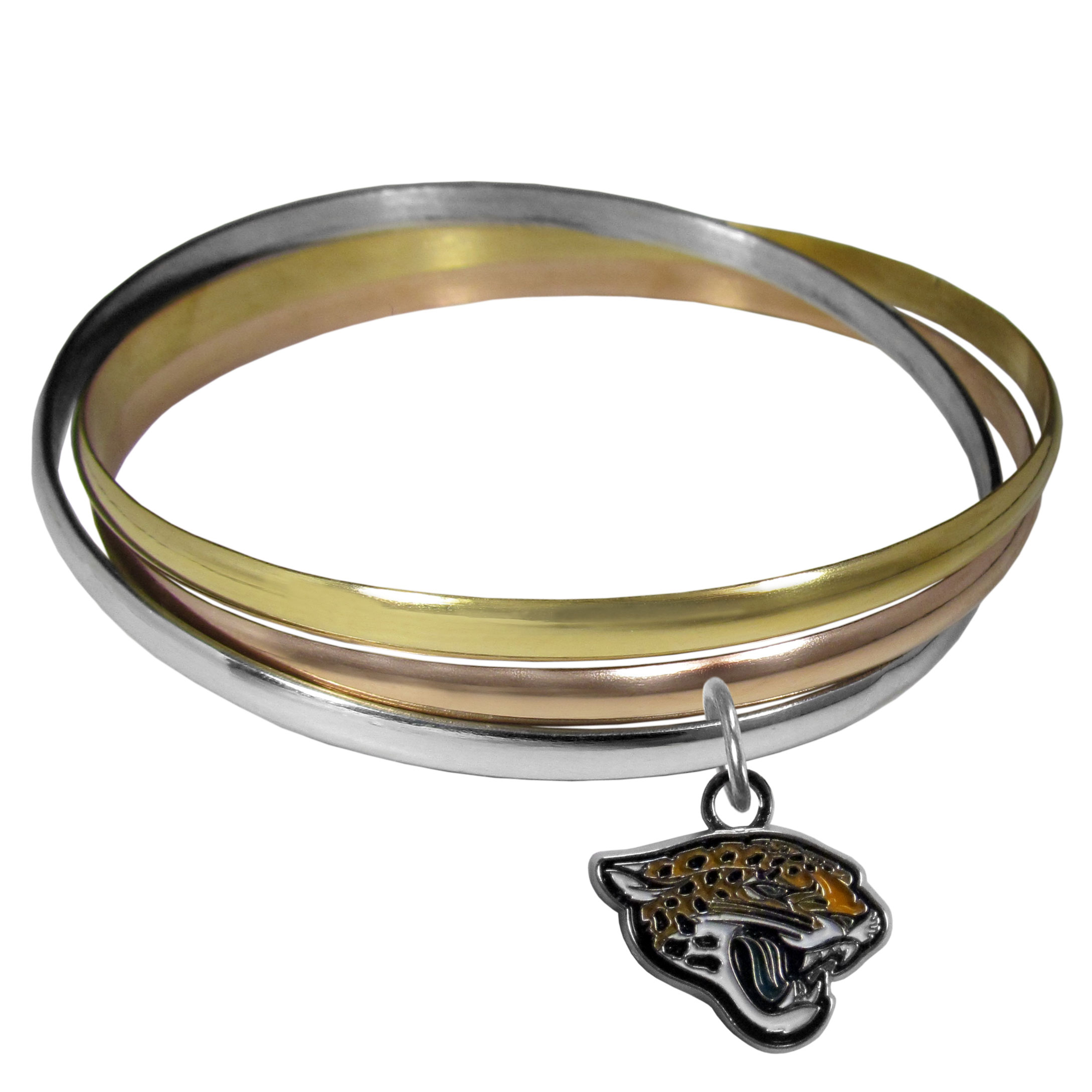 Jacksonville Jaguars Tri-color Bangle Bracelet - These beautiful bangles come in a interlocking style and feature a fully cast Jacksonville Jaguars charm with enameled team colors. The bracelet has a silver toned bangle, gold tone bangle and brass toned bangle.