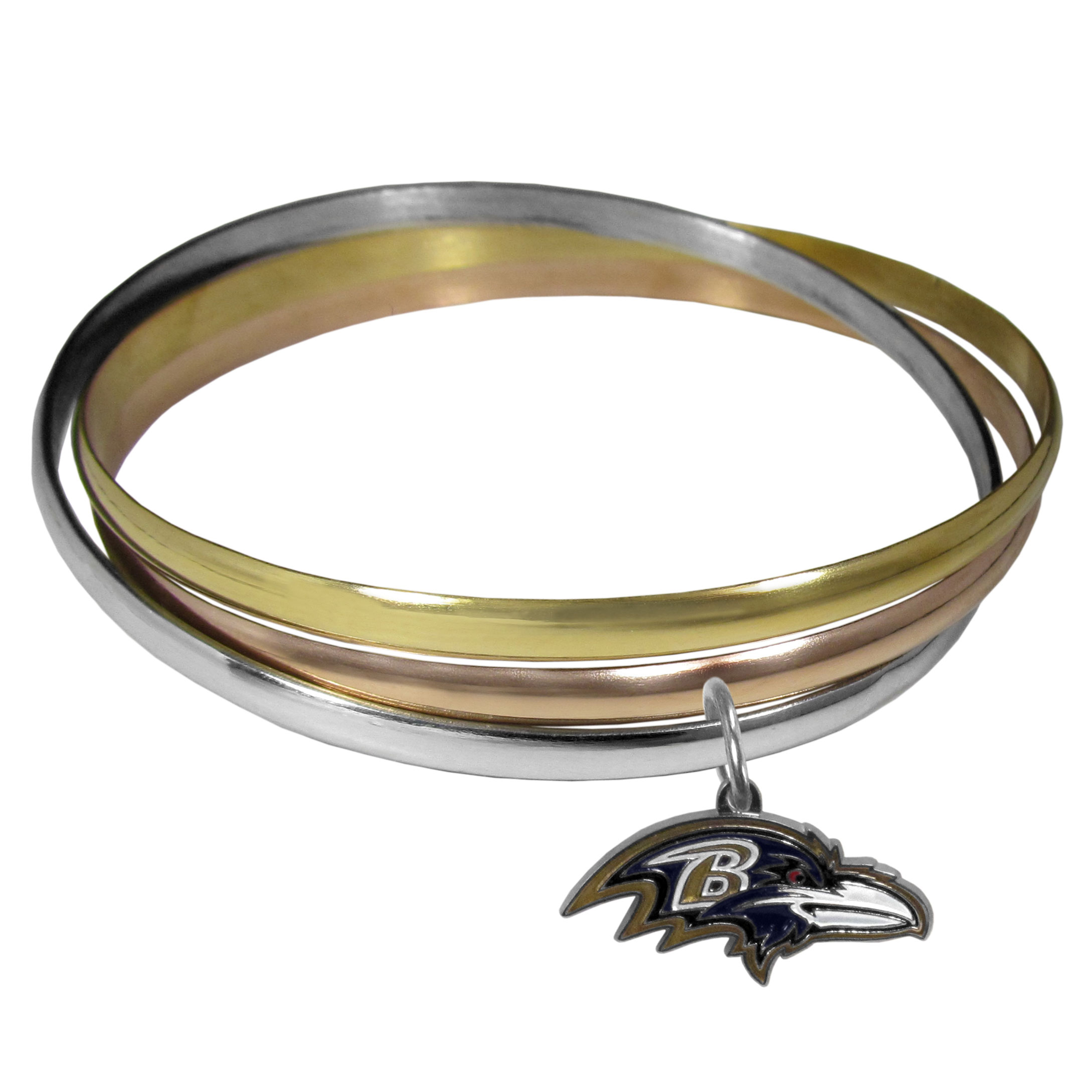 Baltimore Ravens Tri-color Bangle Bracelet - These beautiful bangles come in a interlocking style and feature a fully cast Baltimore Ravens charm with enameled team colors. The bracelet has a silver toned bangle, gold tone bangle and brass toned bangle.