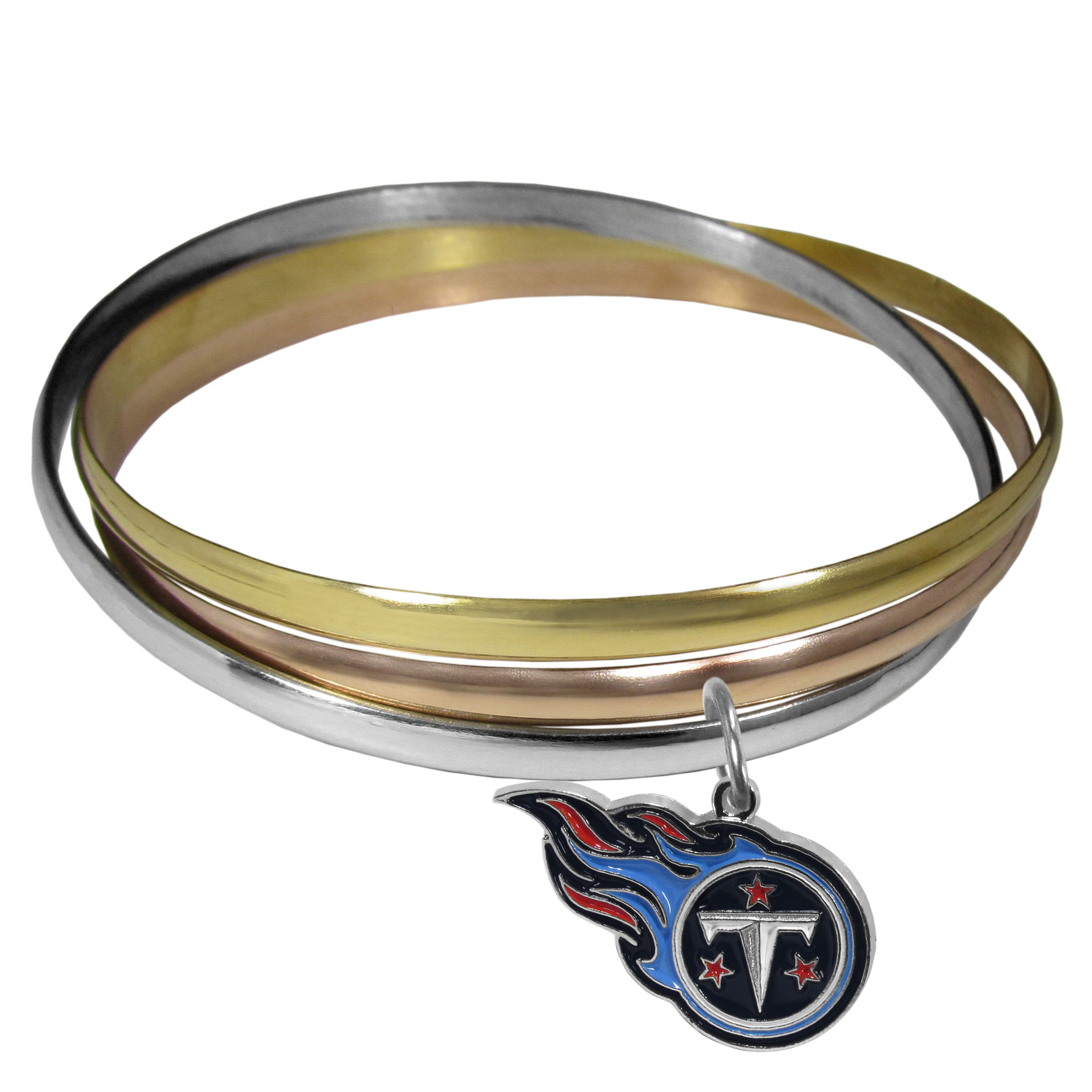 Tennessee Titans Tri-color Bangle Bracelet - These beautiful bangles come in a interlocking style and feature a fully cast Tennessee Titans charm with enameled team colors. The bracelet has a silver toned bangle, gold tone bangle and brass toned bangle.