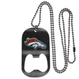 Denver Broncos Bottle Opener Tag Necklace - Our Denver Broncos bottle opener tag necklace has a brushed metal finish and inlaid team logo. The pendant has bottle opener feature and comes on a 20 inch ball chain making the perfect game day accessory! Officially licensed NFL product Licensee: Siskiyou Buckle Thank you for visiting CrazedOutSports.com