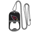 Arizona Cardinals Bottle Opener Tag Necklace - Our Arizona Cardinals bottle opener tag necklace has a brushed metal finish and inlaid team logo. The pendant has bottle opener feature and comes on a 20 inch ball chain making the perfect game day accessory! Officially licensed NFL product Licensee: Siskiyou Buckle .com