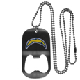 San Diego Chargers Bottle Opener Tag Necklace - Our San Diego Chargers bottle opener tag necklace has a brushed metal finish and inlaid team logo. The pendant has bottle opener feature and comes on a 20 inch ball chain making the perfect game day accessory! Officially licensed NFL product Licensee: Siskiyou Buckle Thank you for visiting CrazedOutSports.com
