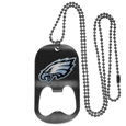 Philadelphia Eagles Bottle Opener Tag Necklace - Our Philadelphia Eagles bottle opener tag necklace has a brushed metal finish and inlaid team logo. The pendant has bottle opener feature and comes on a 20 inch ball chain making the perfect game day accessory! Officially licensed NFL product Licensee: Siskiyou Buckle .com