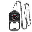Atlanta Falcons Bottle Opener Tag Necklace - Our Atlanta Falcons bottle opener tag necklace has a brushed metal finish and inlaid team logo. The pendant has bottle opener feature and comes on a 20 inch ball chain making the perfect game day accessory! Officially licensed NFL product Licensee: Siskiyou Buckle .com