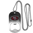 San Francisco 49ers Bottle Opener Tag Necklace - Our San Francisco 49ers bottle opener tag necklace has a brushed metal finish and inlaid team logo. The pendant has bottle opener feature and comes on a 20 inch ball chain making the perfect game day accessory! Officially licensed NFL product Licensee: Siskiyou Buckle Thank you for visiting CrazedOutSports.com