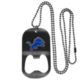 Detroit Lions Bottle Opener Tag Necklace - Our Detroit Lions bottle opener tag necklace has a brushed metal finish and inlaid team logo. The pendant has bottle opener feature and comes on a 20 inch ball chain making the perfect game day accessory! Officially licensed NFL product Licensee: Siskiyou Buckle .com