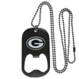 Green Bay Packers Bottle Opener Tag Necklace - Our Green Bay Packers bottle opener tag necklace has a brushed metal finish and inlaid team logo. The pendant has bottle opener feature and comes on a 20 inch ball chain making the perfect game day accessory! Officially licensed NFL product Licensee: Siskiyou Buckle .com