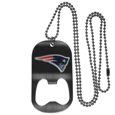 New England Patriots Bottle Opener Tag Necklace - Our New England Patriots bottle opener tag necklace has a brushed metal finish and inlaid team logo. The pendant has bottle opener feature and comes on a 20 inch ball chain making the perfect game day accessory! Officially licensed NFL product Licensee: Siskiyou Buckle .com