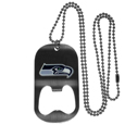 Seattle Seahawks Bottle Opener Tag Necklace - Our Seattle Seahawks bottle opener tag necklace has a brushed metal finish and inlaid team logo. The pendant has bottle opener feature and comes on a 20 inch ball chain making the perfect game day accessory! Officially licensed NFL product Licensee: Siskiyou Buckle Thank you for visiting CrazedOutSports.com