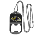 Baltimore Ravens Bottle Opener Tag Necklace - Our Baltimore Ravens bottle opener tag necklace has a brushed metal finish and inlaid team logo. The pendant has bottle opener feature and comes on a 20 inch ball chain making the perfect game day accessory! Officially licensed NFL product Licensee: Siskiyou Buckle Thank you for visiting CrazedOutSports.com
