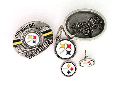 4 in 1 NFL Trinket Box - Pittsburgh Steelers - Our Pittsburgh Steelers trinket box is a great gift or addition to a collection. Consists of a gift box, a pendant on chain, earrings and pin. Pendant lies inside box, earrings attached to lid and lid doubles as pin. Officially licensed NFL product Licensee: Siskiyou Buckle .com
