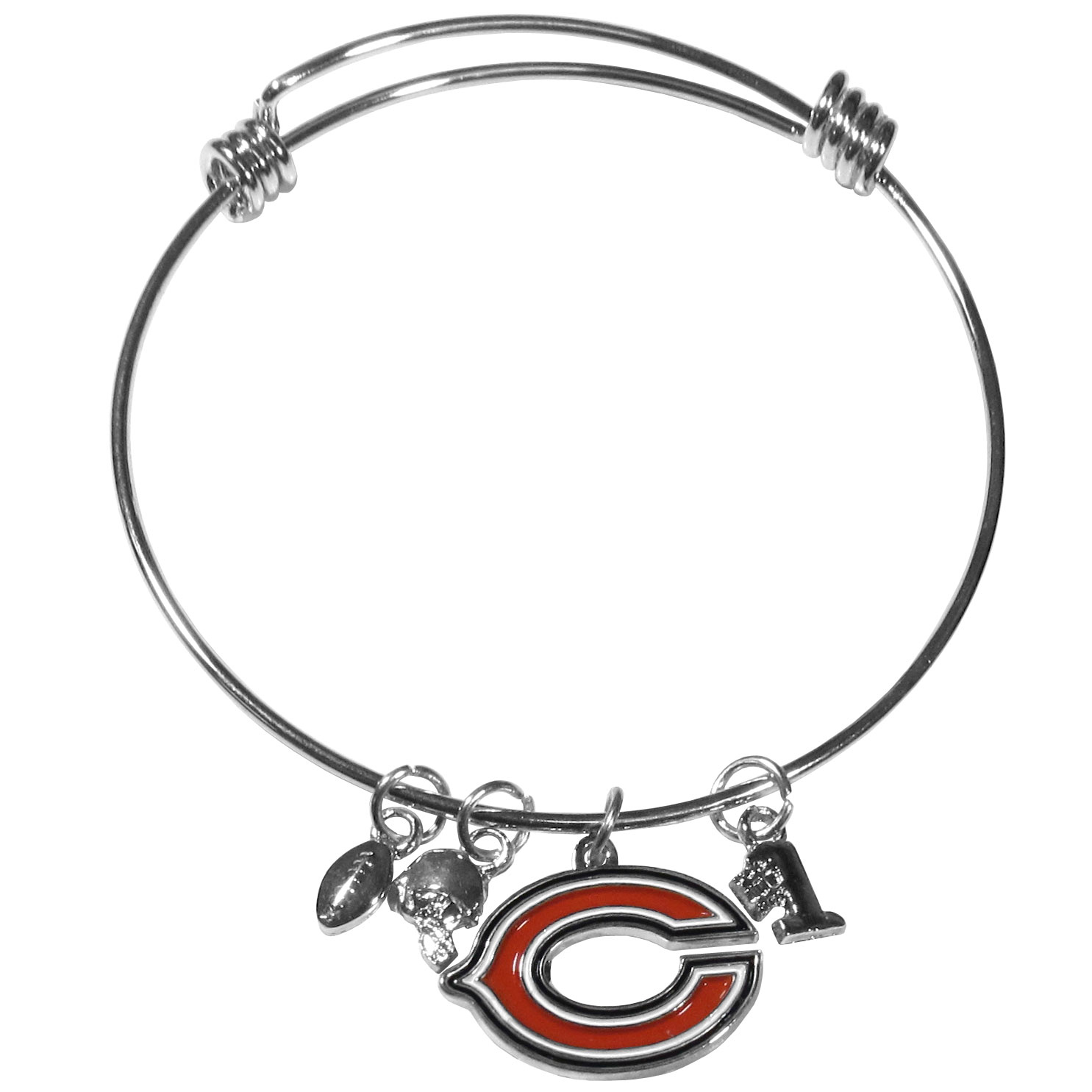 Chicago Bears Charm Bangle Bracelet - Adjustable wire bracelets are all the rage and this Chicago Bears bracelet matches the popular trend with your beloved team. The bracelet features 4 charms in total, each feature exceptional detail and the team charm has enameled team colors.