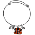 Cincinnati Bengals Charm Bangle Bracelet - Adjustable wire bracelets are all the rage and this Cincinnati Bengals bracelet matches the popular trend with your beloved team. The bracelet features 4 charms in total, each feature exceptional detail and the team charm has enameled team colors.