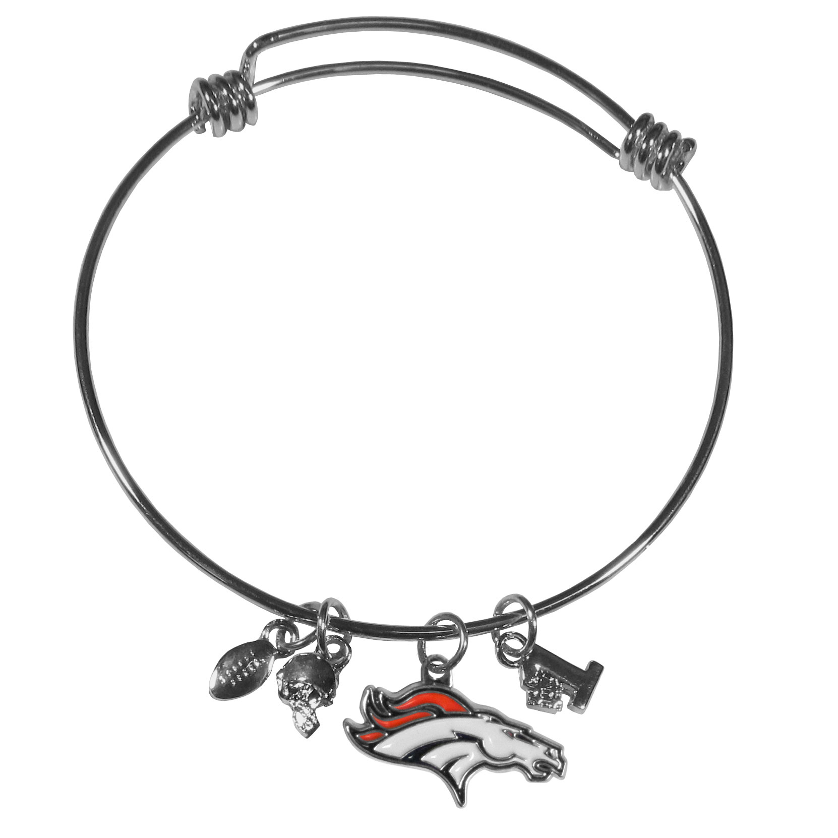 Denver Broncos Charm Bangle Bracelet - Adjustable wire bracelets are all the rage and this Denver Broncos bracelet matches the popular trend with your beloved team. The bracelet features 4 charms in total, each feature exceptional detail and the team charm has enameled team colors.