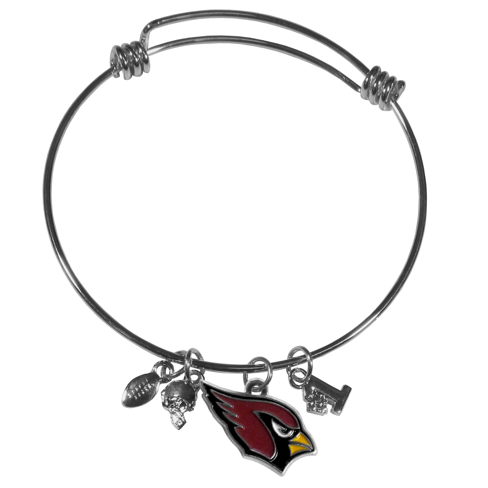 Arizona Cardinals Charm Bangle Bracelet - Adjustable wire bracelets are all the rage and this Arizona Cardinals bracelet matches the popular trend with your beloved team. The bracelet features 4 charms in total, each feature exceptional detail and the team charm has enameled team colors.